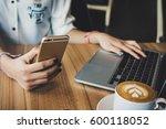 view of asian woman freelancer...   Shutterstock . vector #600118052