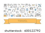 line web banner for travel and... | Shutterstock .eps vector #600122792
