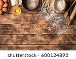 flour with wheat  eggs  rolling ... | Shutterstock . vector #600124892