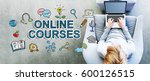 online courses text with man... | Shutterstock . vector #600126515