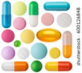 many colorful pills and tablets ... | Shutterstock . vector #600126848