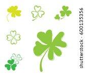 set of shamrock vector icons...   Shutterstock .eps vector #600135356
