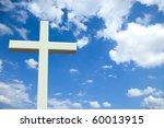 White Christian Cross In Front...