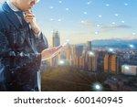 double exposure of professional ...   Shutterstock . vector #600140945