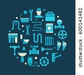 plumbing circular illustration  ...   Shutterstock .eps vector #600141482