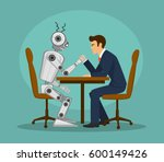 funny robot and businessman arm ... | Shutterstock .eps vector #600149426