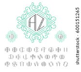 two letters monogram template... | Shutterstock .eps vector #600151265
