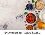 healthy breakfast   a bowl of... | Shutterstock . vector #600156362