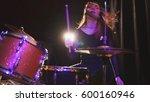 teen rock music   girl with... | Shutterstock . vector #600160946