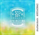 spring badge vector typographic ... | Shutterstock .eps vector #600163862