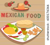 hot and spicy mexican food... | Shutterstock .eps vector #600176366