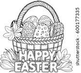 happy easter. black and white...   Shutterstock .eps vector #600177335