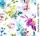 Stock vector poppy wild rose cornflowers lily of the valley with leaves on pastel violet white seamless 600178976