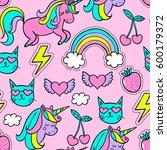 cartoon patch. vector seamless... | Shutterstock .eps vector #600179372