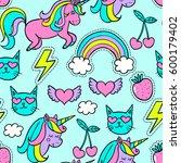cartoon patch. vector seamless... | Shutterstock .eps vector #600179402