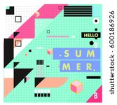 trendy vector summer cards... | Shutterstock .eps vector #600186926