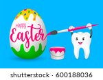 cute cartoon tooth painting... | Shutterstock .eps vector #600188036