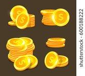 gold coins vector icons  golden ... | Shutterstock .eps vector #600188222