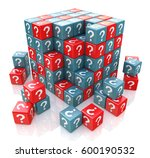 faq cube with a question marks... | Shutterstock . vector #600190532