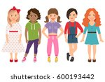 Stylish Child Girls Vector...