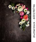 floral round frame with ... | Shutterstock . vector #600198746