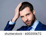 close up portrait of serious... | Shutterstock . vector #600200672