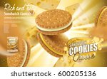 cheese sandwich cookies ad ... | Shutterstock .eps vector #600205136