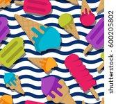 vector seamless summer pattern... | Shutterstock .eps vector #600205802