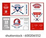 baseball sports ticket vector... | Shutterstock .eps vector #600206552