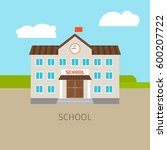 colored school building with... | Shutterstock .eps vector #600207722
