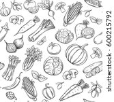 hand drawn vegetables seamless... | Shutterstock .eps vector #600215792