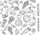 hand drawn vegetables seamless... | Shutterstock .eps vector #600215792