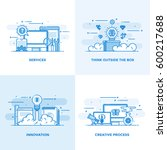 modern flat color line designed ... | Shutterstock .eps vector #600217688