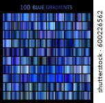 mega set of 100 blue gradients. ... | Shutterstock . vector #600226562