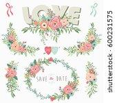 floral bouquet love elements | Shutterstock .eps vector #600231575