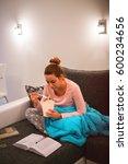 girl eating while studying | Shutterstock . vector #600234656