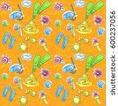 summer seamless pattern for... | Shutterstock .eps vector #600237056