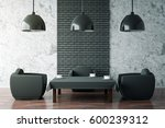 Stock photo front view of cozy cafe intrerior with small black coffee table two armchairs and ceiling lamps 600239312