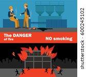 fire safety in factory. danger... | Shutterstock .eps vector #600245102