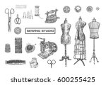 vintage sewing studio sign with ... | Shutterstock .eps vector #600255425