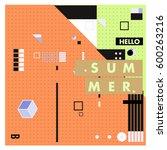 trendy vector summer cards...   Shutterstock .eps vector #600263216