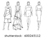 sketch. fashion girls on a... | Shutterstock .eps vector #600265112