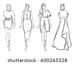 sketch. fashion girls on a... | Shutterstock .eps vector #600265328