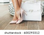 luxury stylish bag with chic... | Shutterstock . vector #600293312