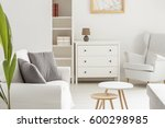 White Cozy Living Room With...