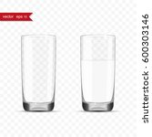 empty and full glasses of water ... | Shutterstock .eps vector #600303146