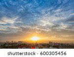 aerial view of dramatic sunset... | Shutterstock . vector #600305456