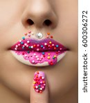 close up view of female lips... | Shutterstock . vector #600306272