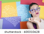 love concept with heart shape... | Shutterstock . vector #600310628