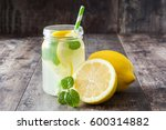 lemonade drink in a jar glass... | Shutterstock . vector #600314882